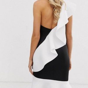 ASOS One Shoulder Dress Midi-Size 8